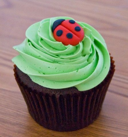 Lady Bug Cupcake - simple and sweet. #ladybug #babyshower