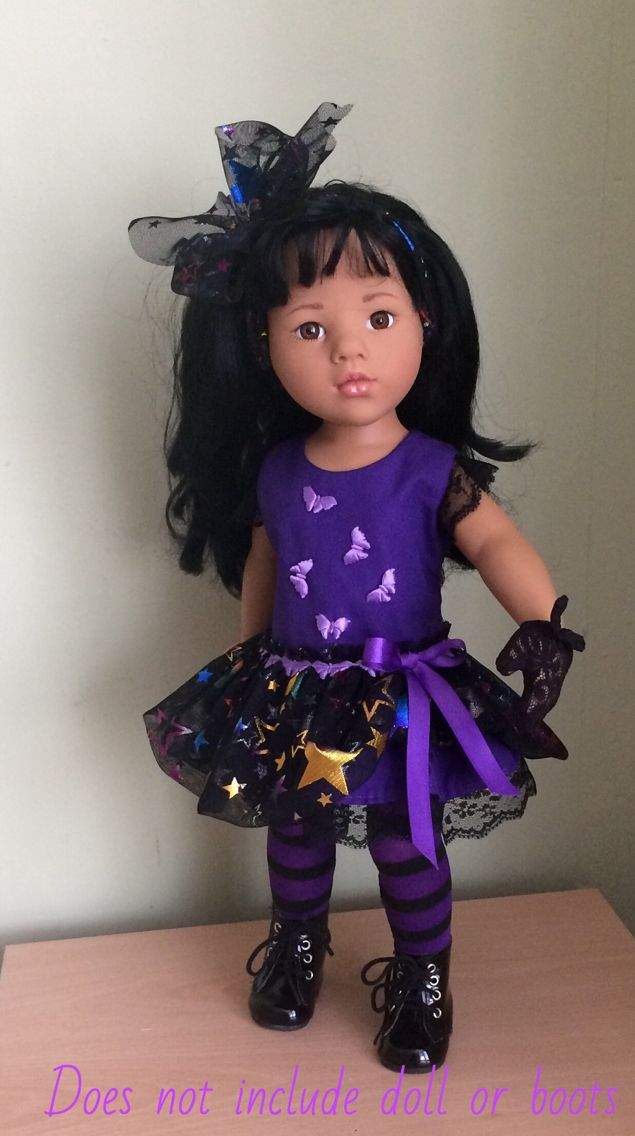 Halloween outfit for Gotz Hannah. Purple dress with black lace trim and ruffles, starry mesh overlay with purple ribbon. Black and purple tights. Starry mesh hairbow and black lace mittens. EBay seller
