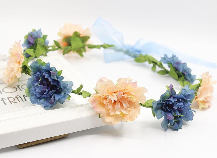 Musim panas Pernikahan Floral Crown Kepala Band Bunga Kepala Karangan Bunga Wanita Bunga Headband Gadis Bunga Bridesmaid Bridal Topi Baja Crown