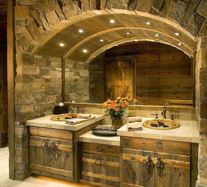 Log Cabin Looking Bathroom Home Decor Pinterest