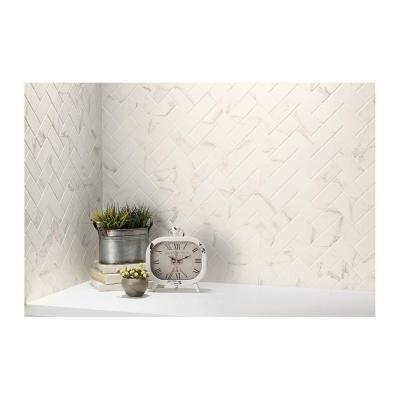 MARAZZI Developed by Nature Calacatta 12 in. x 14 in. x 6 mm Glazed Ceramic Herringbone Mosaic Tile-DN1124HERRHD1P2 - The Home Depot