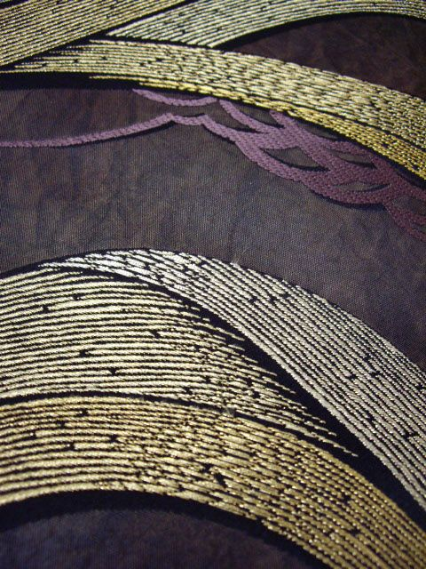♂ Color inspiration elegant neutral purple with neutral olive green Japanese Obi textile