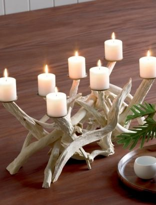 Driftwood candelabra - thinking about something like this for our fireplace