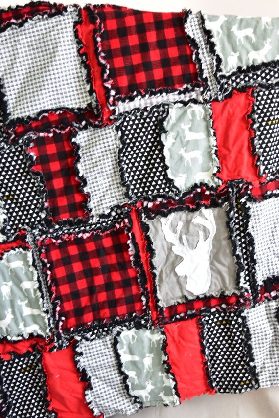Woodland Crib Set Gray / Black / Red Crib Bedding Baby Bed