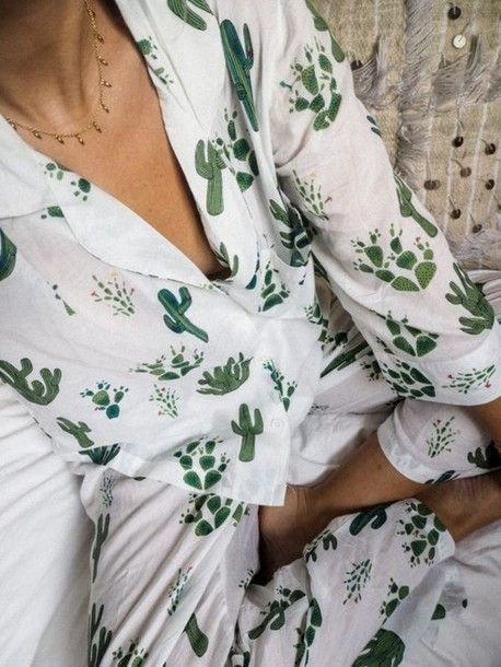 Pajamas: print cute bedroom nightwear cactus plants