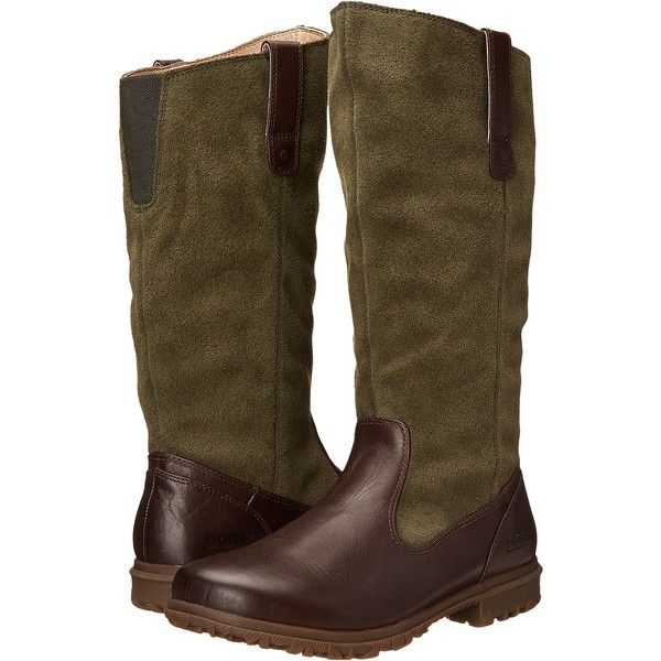 Bogs Bobby Tall (Brown) Women's Rain Boots ($95) ❤ liked on Polyvore featuring shoes, boots, brown, tall boots, bogs boots, waterproof leather boots, rain boots and brown knee high boots