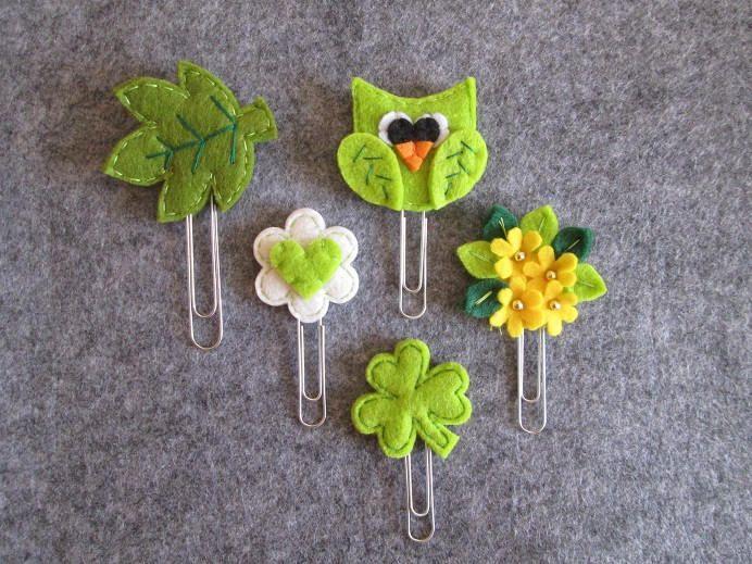 Set di 5 graffette di feltro:foglia,gufo, trifoglio, cuore e bouquet - Planner accessories; Segnalibri in feltro, Idea regalo. di TinyFeltHeart su Etsy
