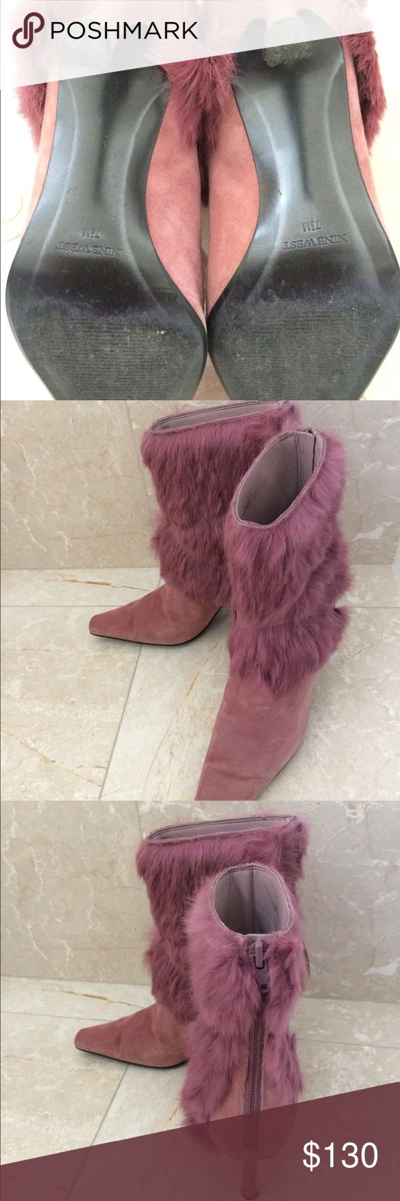 Booties with real fur for sale Very cute and awesome condition booties. With real rabbit fur Nine West Shoes Ankle Boots & Booties