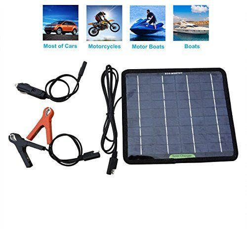 #marineelectronics ECO-WORTHY 12 Volts 5 Watts Portable Power Solar Panel Battery Charger Backup for Car Boat Batteries