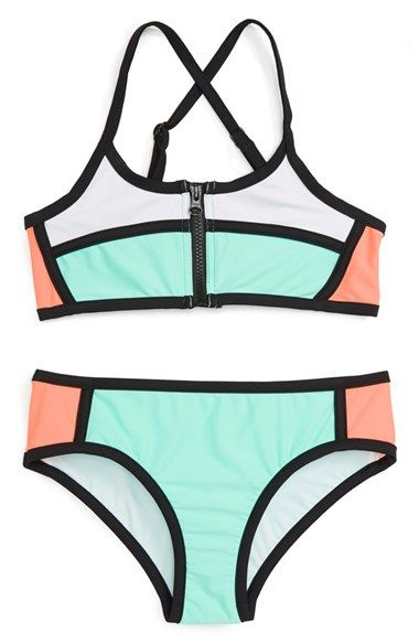 Seafolly 'Gypsea' Colorblock Two-Piece Swimsuit (Big Girls)