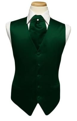 White and green tuxedo | Green tuxedo vest. Solid satin with matching pin ascot tie. Full back ...