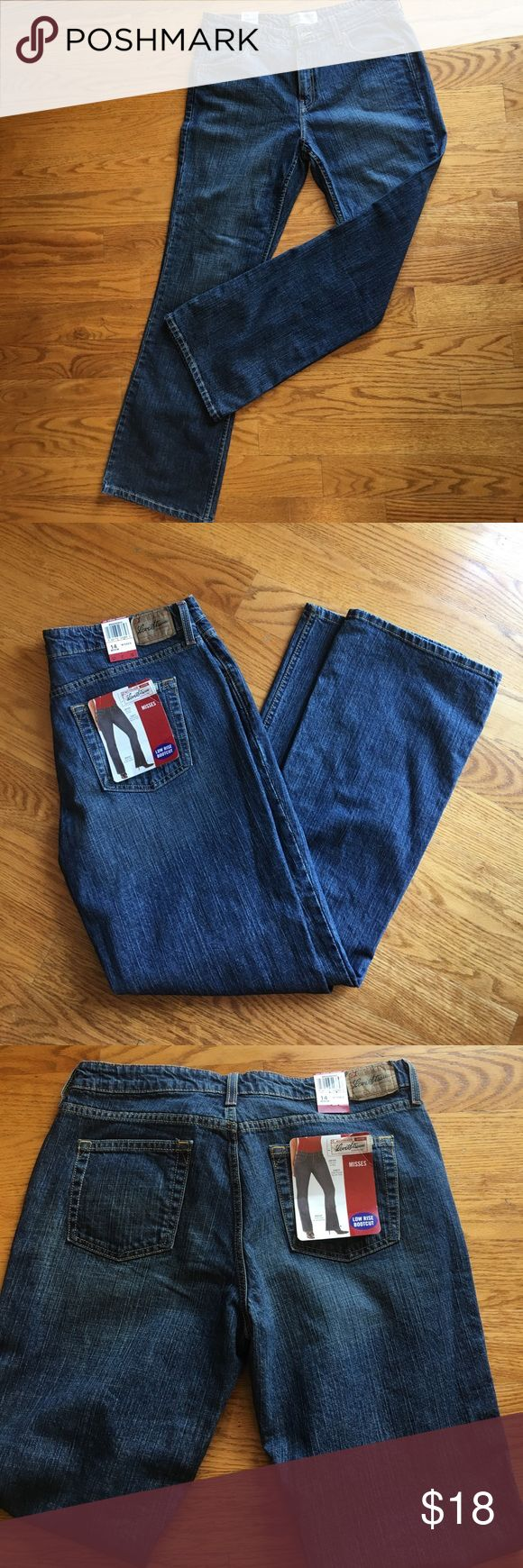 NWT Levi's Strauss signature bootcut jeans NWT Levi's Strauss signature low rise bootcut jeans size 14.  Sits low on hips, slim fit through hip and thigh. Bootcut stretch.  Smoke free and pet free home. Signature by Levi Strauss Jeans Boot Cut