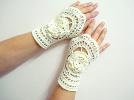 Groothandel gehaakte kant handschoenen, bruids bloem vingerloze handschoen, de hand sieraden, klassieke,