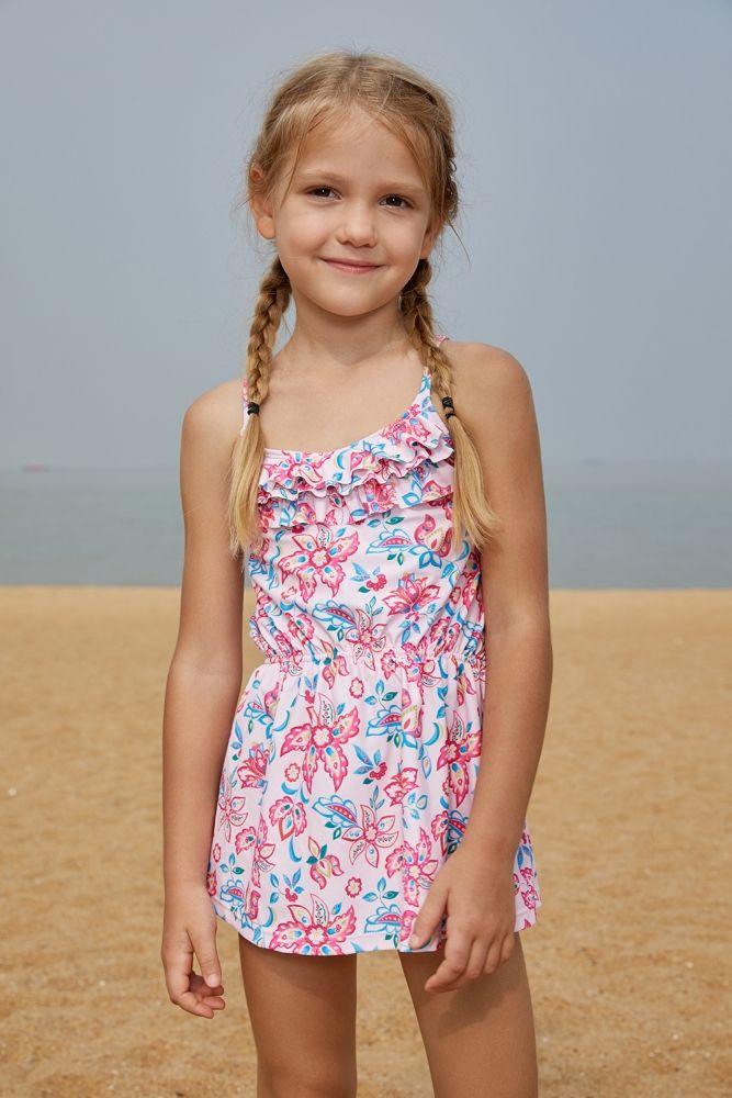 ccdb17b0345444 US$ 5.73-Blue Pink Multi-layer Ruffles Toddler Girls Swim Dress Dropshipping