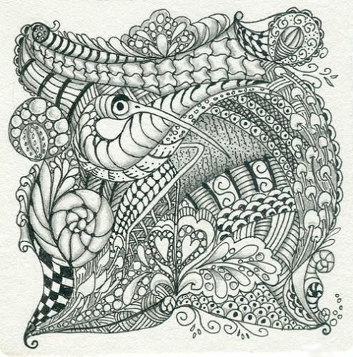 Zentangle pattern gallery zentangle peacock for Zentangle tile template