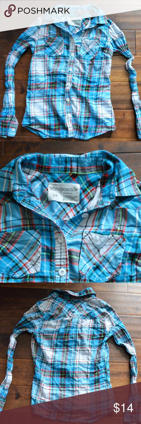 [aeropostale] blue plaid shirt Aeropostale blue plaid button down shirt. Size: Small Like new condition! Aeropostale Tops Button Down Shirts