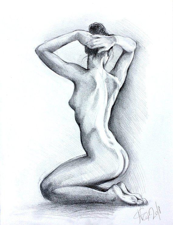ORIGINAL artistic nude pencil drawing, women figure, girl gesture drawing, bathroom,bedroom wall art, home decor