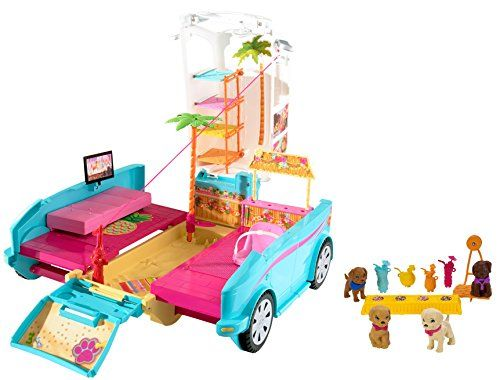 It's the ultimate puppy mobile! Inspired by the film Barbie and Her Sisters in a Puppy Chase this Barbie vehicle transforms from a sporty SUV to a playground perfect for Barbie doll her sisters and ...
