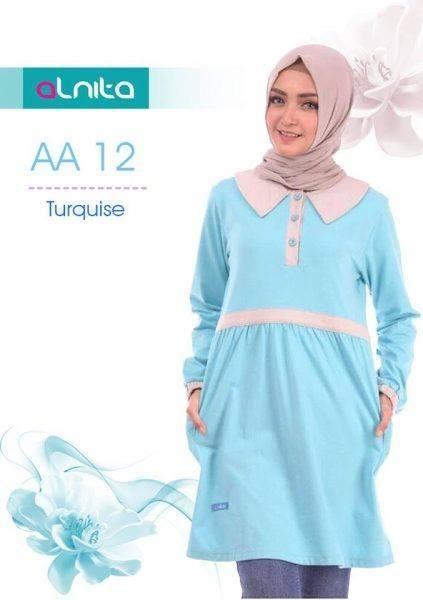 Beli Baju Atasan Wanita Tunik ALNITA AA-12 BIRU TURQUISE dari Aprilia Wati agenbajumuslim - Sidoarjo hanya di Bukalapak