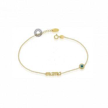 """Ένα λεπτό γυναικείο βραχιόλι για μαμά από χρυσό Κ9 με τη λέξη """"mama"""" και μάτι από mother-of-pearl. Δωρεάν συσκευασία δώρου. #μαμα #ματι #motherofpearls #χρυσο #βραχιολι"""