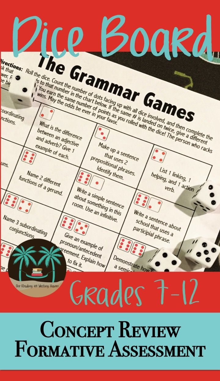 Learning grammar CAN be fun! This student-centered grammar board game is great for the end of the quarter or semester. Need a quick review of concepts already covered? Upcoming test? This game will engage all.