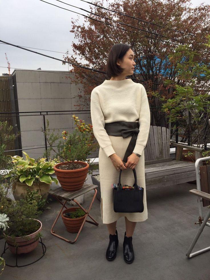 【原宿women's:kurihara】 上品なニットセットアップ。サッシュベルトがポイントです!