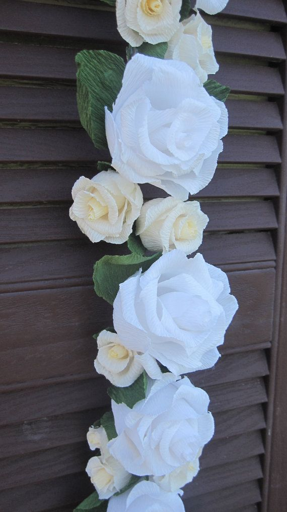 IVORY CREPE Paper paper flowers White Garland by moniaflowers