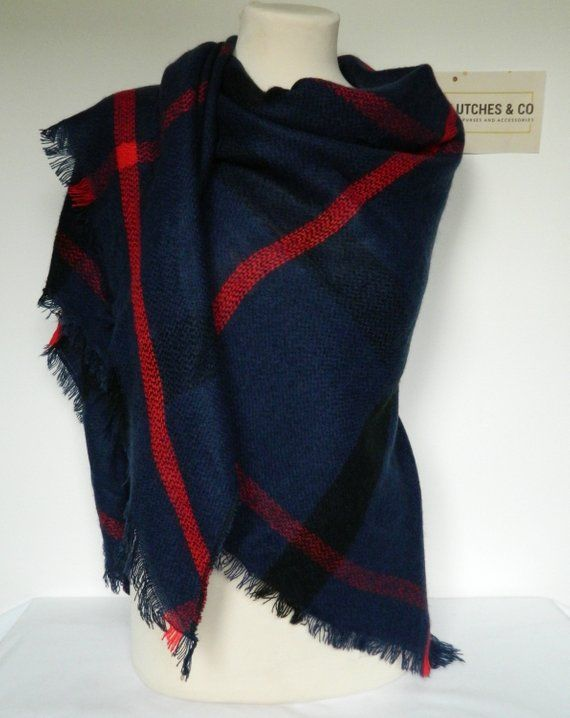 ff3e8cd7f19df Navy and Red Plaid Shawl, Winter Scarf, Plaid Scarf, Large Triangle Plaid  Scarf, Plaid Shawl, Blanket Scarf, Women's Scarf, Ladies Gifts