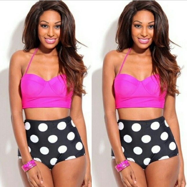 Two Piece Pink And Black Swimming Suit Size S,m,l from Runway Diva Boutique