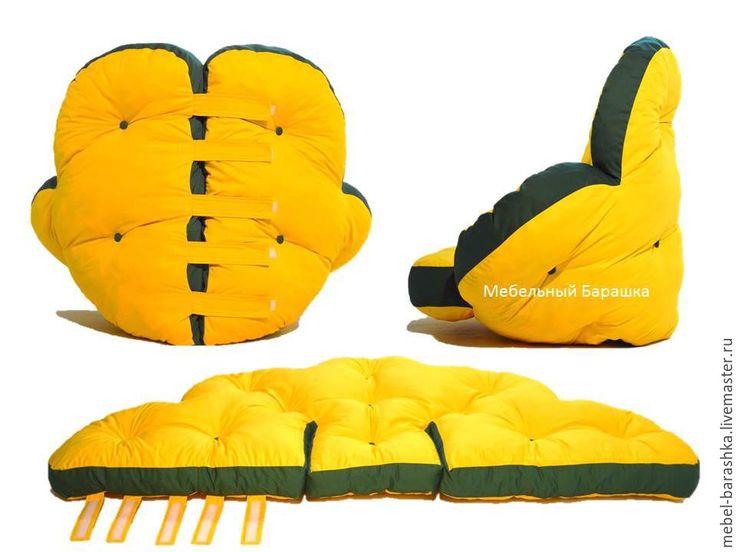 Купить Мягкое бескаркасное кресло цветок матрас трансформер - комбинированный, мягкий, кресло-мешок