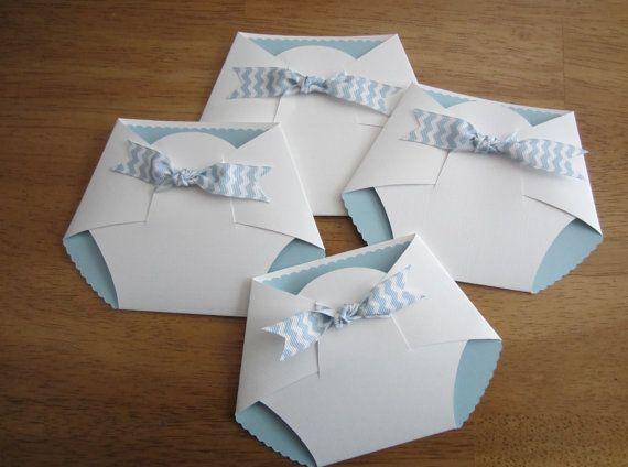 Handmade Baby Shower Invitation - Diaper Shape w/ chevron ribbon on Etsy, $2.95