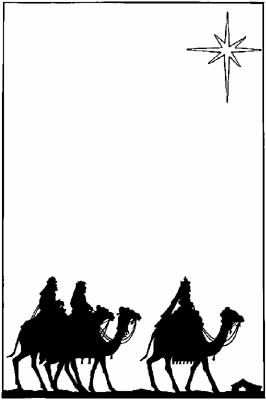 silhouette of the three wisemen riding their camels toward the star of Bethlehem.