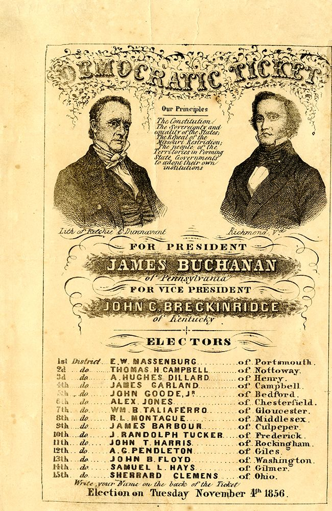 An introduction to the history of the presidential election of 1856