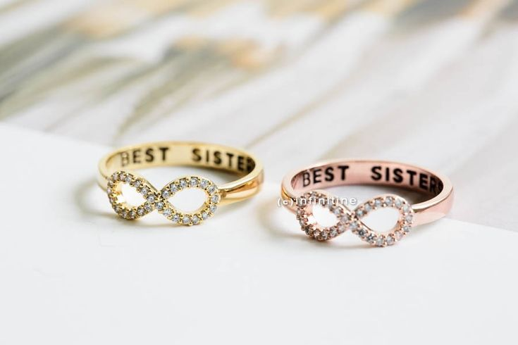 Rose gold Best sisters ring,Ring,bridesmaid gift,infinite,infinity ring,bridesmaid ring,friendship