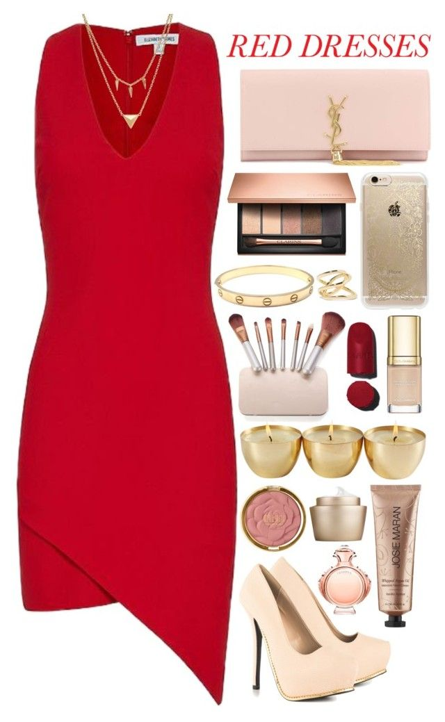 """red dress"" by thelipglossgirl ❤ liked on Polyvore featuring Elizabeth and James, Qupid, Edge of Ember, Yves Saint Laurent, Clarins, Rifle Paper Co, Cartier, Dolce&Gabbana, Jennifer Fisher and Chanel"
