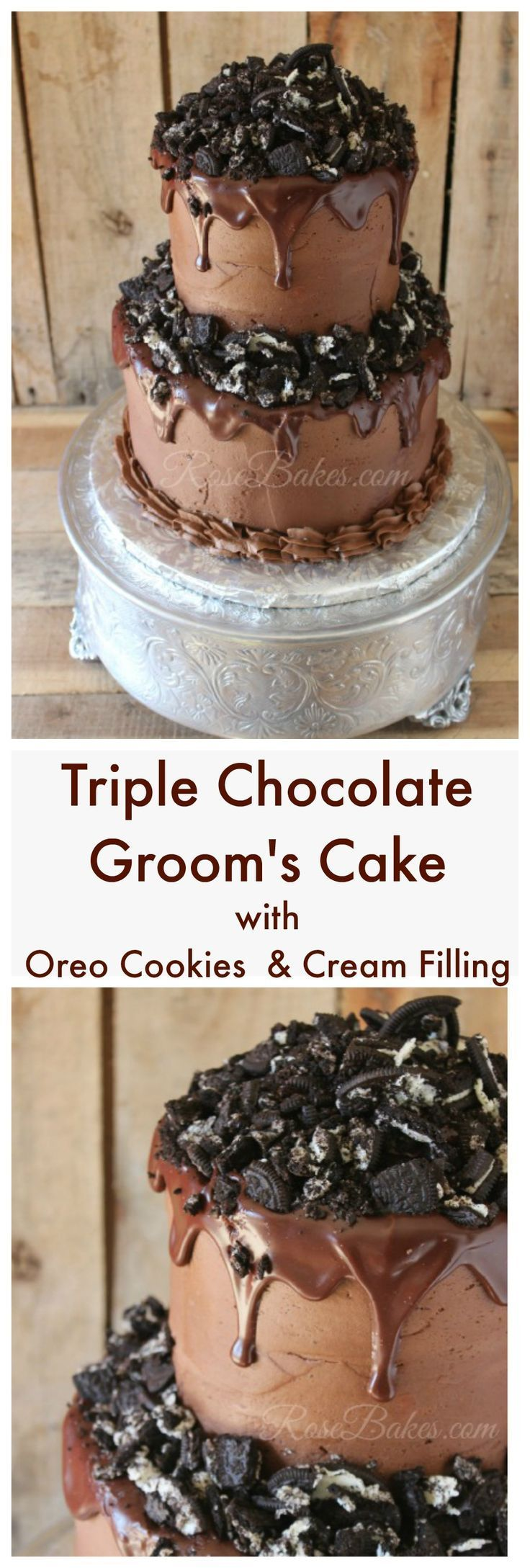 Triple Chocolate Groom's Cake with Oreo Cookies & Cream Filling