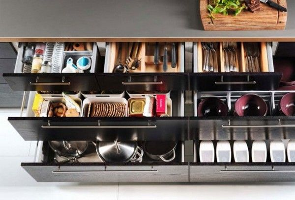 Kitchen organisation...must have drawers instead of lower cabinets!