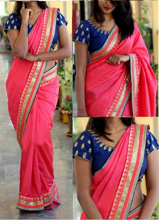 Buy Pink Georgette Replica Saree