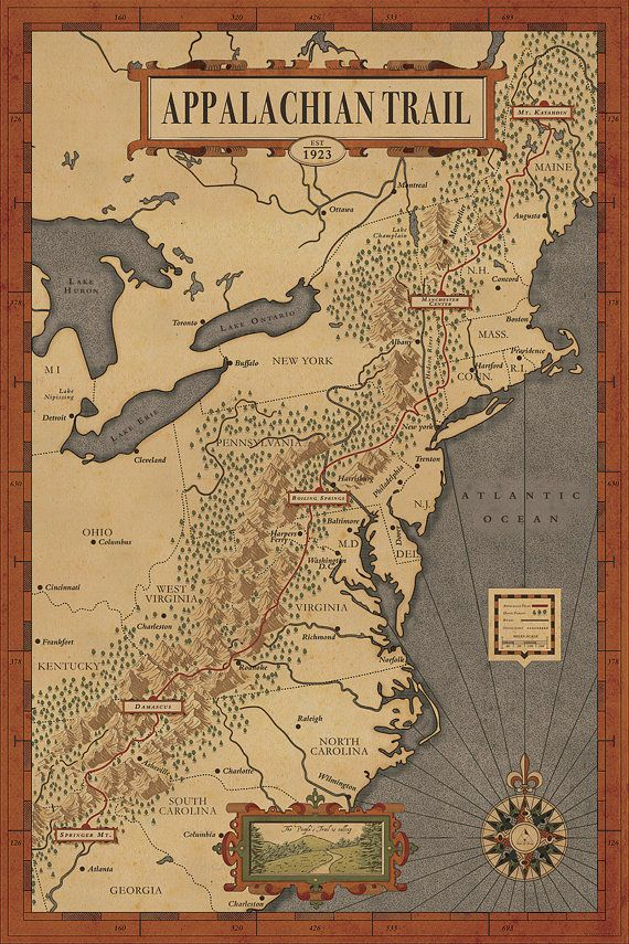 Have you ever dreamed of hiking the Appalachian Trail? This map is a piece illustrated for those who love hiking and exploring the natural wonder