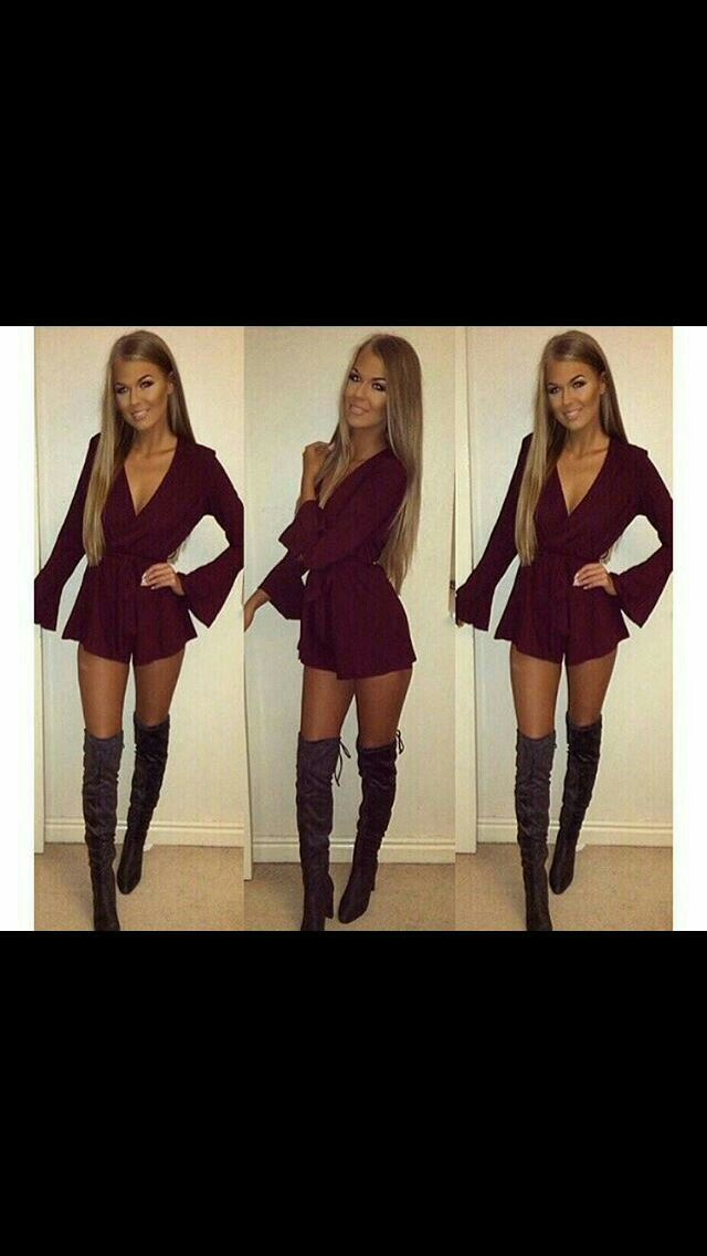 My white romper with black over the knee boots                                                                                                                                                                                  More