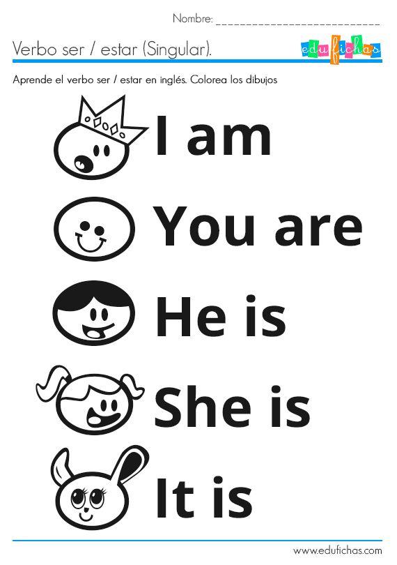 Ficha de inglés del verbo to be. Ficha doble, con singular, plural y ejercicio. La ficha es además coloreable. Inglés para niños de 4 años. Edufichas.com