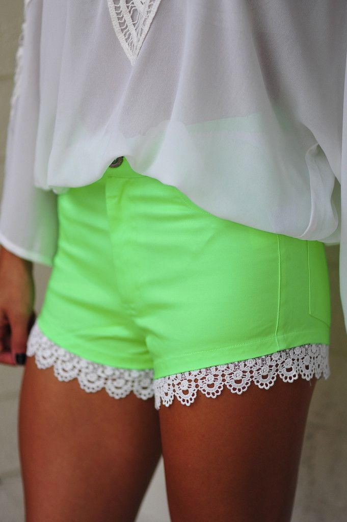 High On Lace Shorts: Neon Green