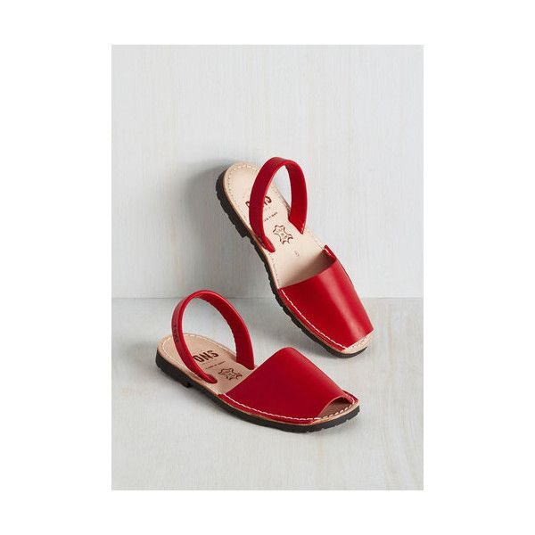Pons Avarcas Minimal Force to Be Beckoned With Sandal (€49) ❤ liked on Polyvore featuring shoes, sandals, red, slingback, leather sandals, slip on sandals, slip on shoes, leather slip on shoes and red sandals