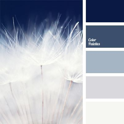 Monochrome dark blue color palette reminds of mystery of the sky before a thunderstorm. Transition from deep dark blue color to pure white is contrast and at the same time softened with pastel shades of blue. Perfect color for the interior of bathroom or pool hall. It is good for intelligent woman's clothes design. #Color Palettes