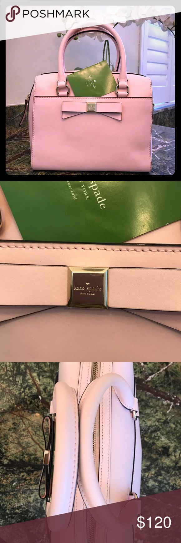♠️ Baby Pink Leather Bag Beautiful pink leather bag is the perfect size. This adorable bag is almost flawless! There is a scratch or two on the logo and the interior lining has a light pink spot that look like it may be blush, should be easily cleaned. Open to reasonable offers. Bundle and save on shipping. kate spade Bags