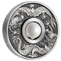 This innovative coin features a lustrous rotating pearl-like orb in the centre | Dragon and Pearl 2017 1oz Silver Antiqued Coin