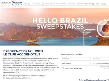 Le Club Accor Hotels Hello Brazil Sweepstakes