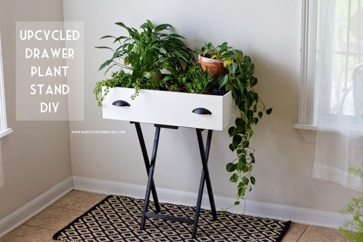 Upcycled Drawer Plant Stand DIY | happy together #chalkyfinish #decoartprojects @decoart @michaelsstores @homedepot @hobbylobby
