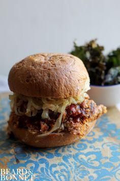 "#G-Free, #Vegan ""Pulled"" Cauliflower BBQ Sandwich - with a vegan and gluten free BBQ Sauce recipe."