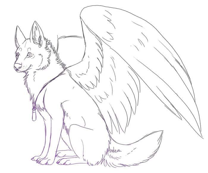 Wolf With Wings Coloring Pics